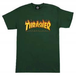 Thrasher Flame Logo Forest Green tee