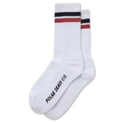 Polar Skate Co Stripes Socks White Black Rust