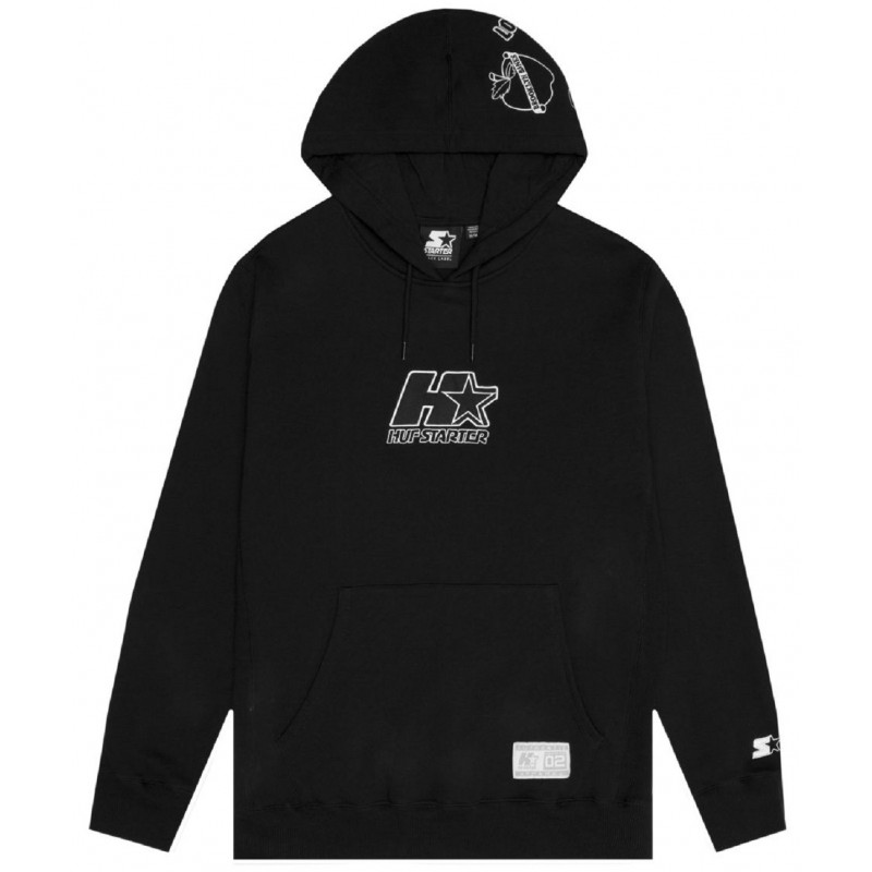 Sweat-Shirt Huf X Starter Patches Pullover Hoodie Black